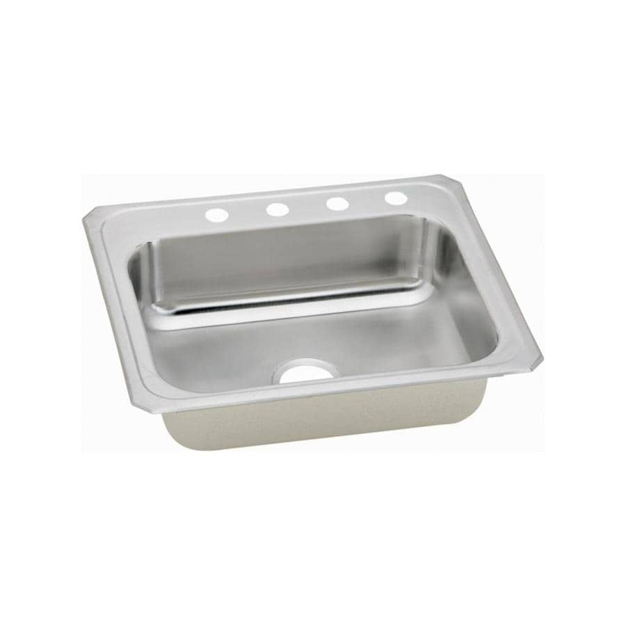 Elkay Gourmet 22-in x 31-in Brushed Satin Single-Basin Stainless Steel Drop-in 4-Hole Residential Kitchen Sink