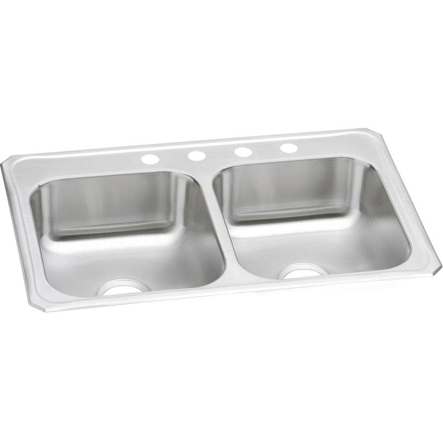 Elkay 22-in x 33-in Double-Basin Stainless Steel Kitchen Sink