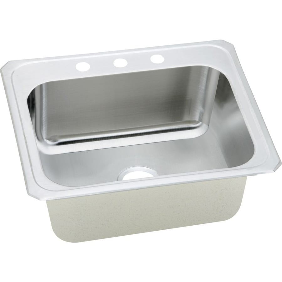 Elkay Gourmet 22-in x 25-in Brushed Satin Single-Basin Stainless Steel Drop-in 3-Hole Commercial Kitchen Sink