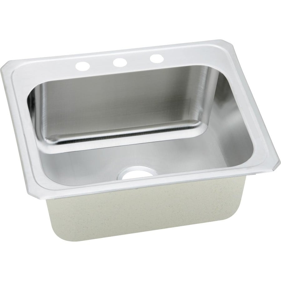 Elkay 22-in x 25-in Single-Basin Stainless Steel Drop-In Kitchen Sink