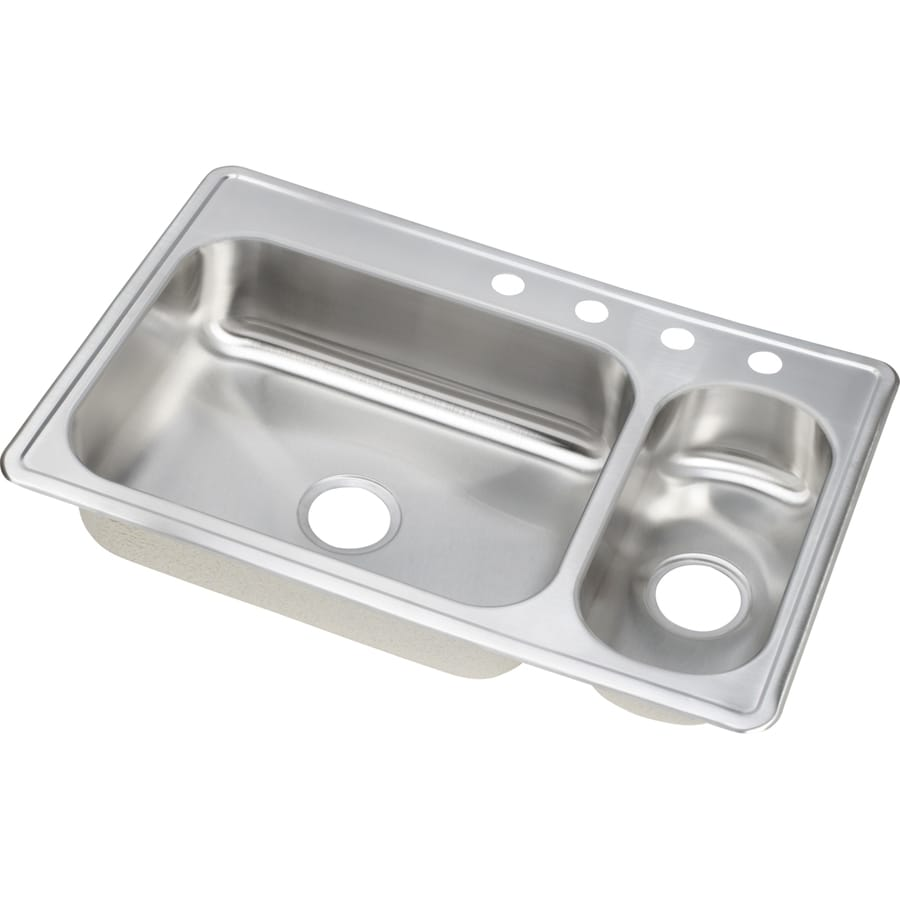 Elkay Gourmet 22-in x 33-in Double-Basin Stainless Steel Drop-in 4-Hole Residential Kitchen Sink