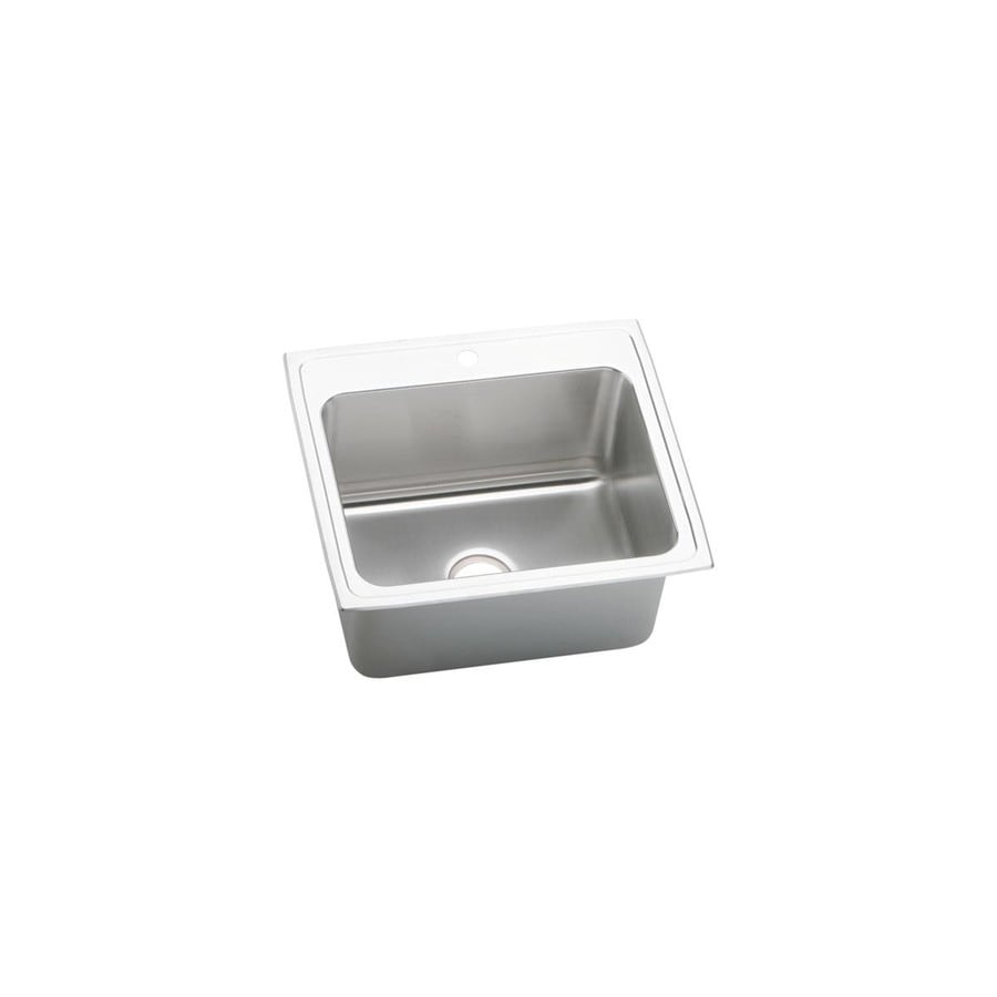Elkay Lustertone 22-in x 25-in Single-Basin Stainless Steel Drop-In Kitchen Sink