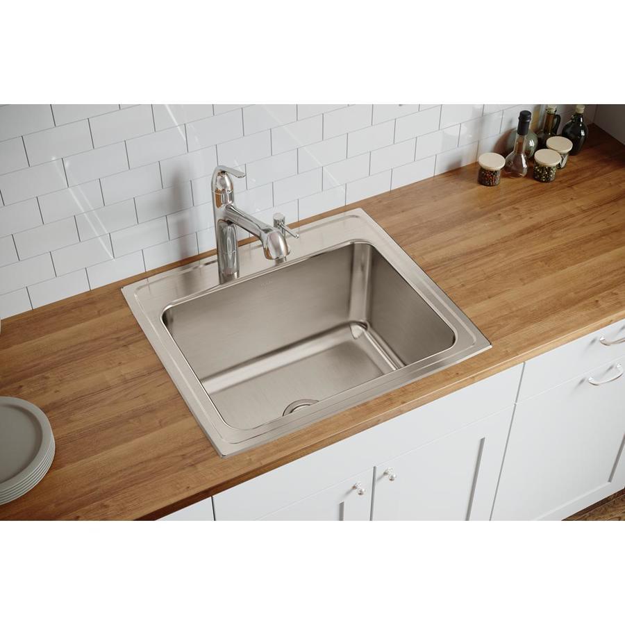 Elkay 22-in x 25-in Single-Basin Stainless Steel Drop-In Kitchen Sink