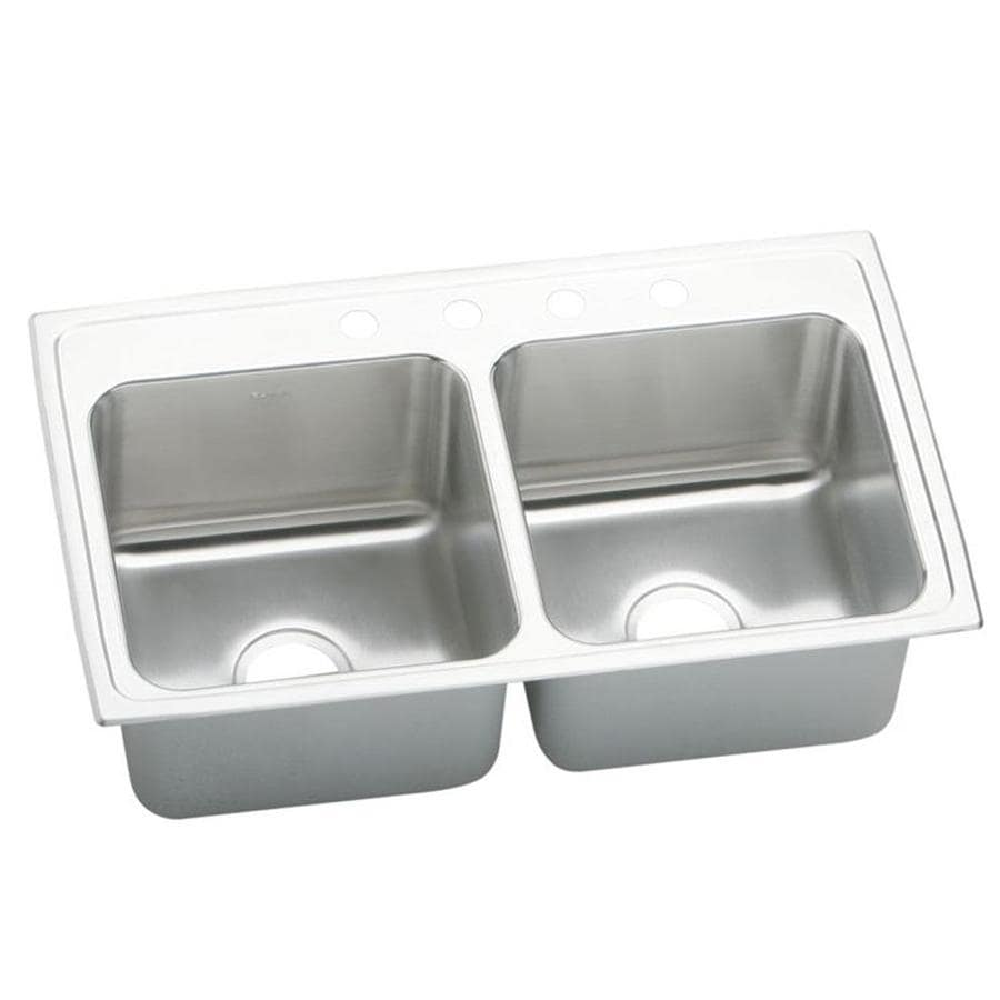 Elkay Gourmet 22-in x 33-in Lustrous Highlighted Satin Double-Basin Drop-in 1-Hole Residential Kitchen Sink