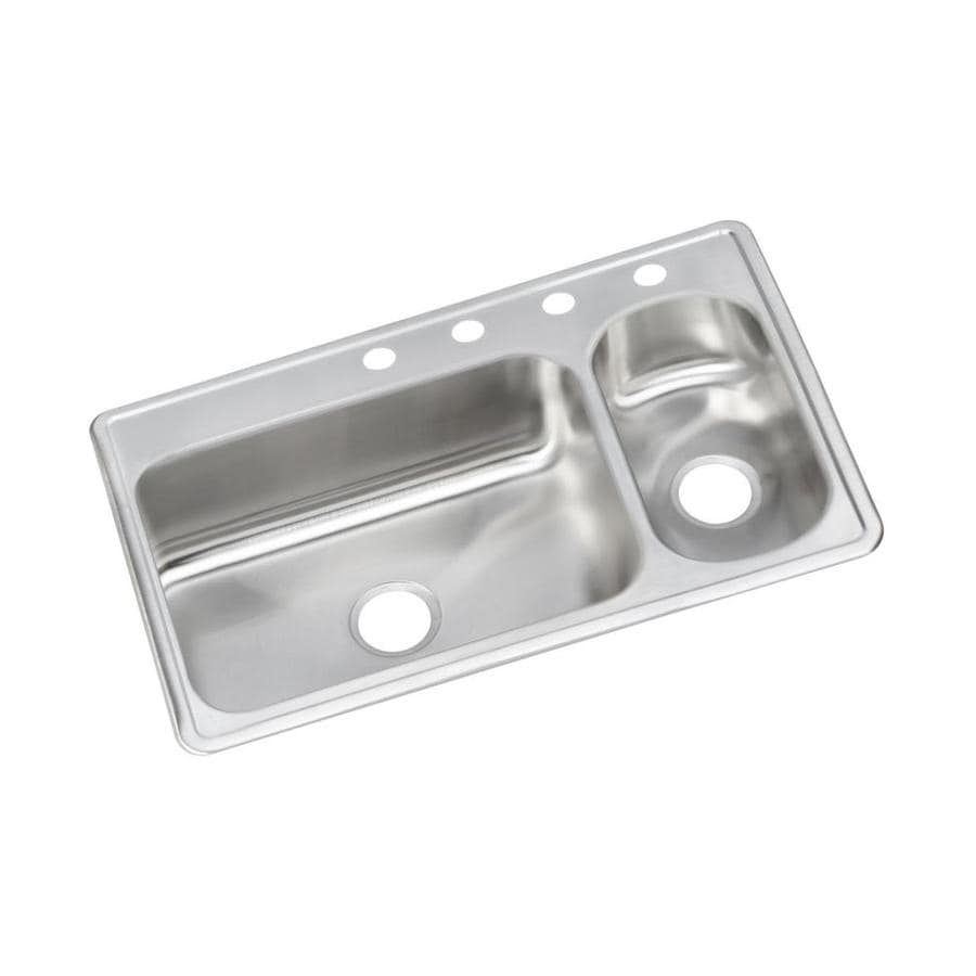 Elkay 22-in x 33-in Stainless Single-Basin-Basin Stainless Steel Drop-In-Hole Kitchen Sink