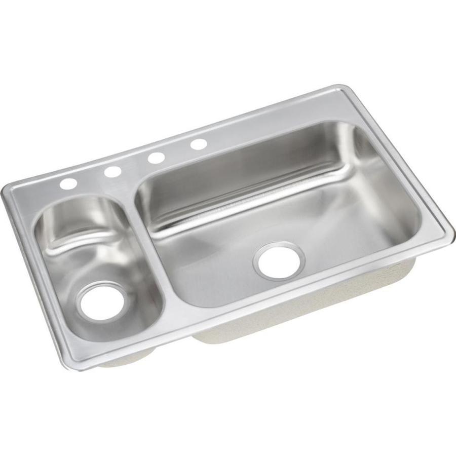Elkay 22-in x 33-in Double-Basin Stainless Steel Drop-In Kitchen Sink