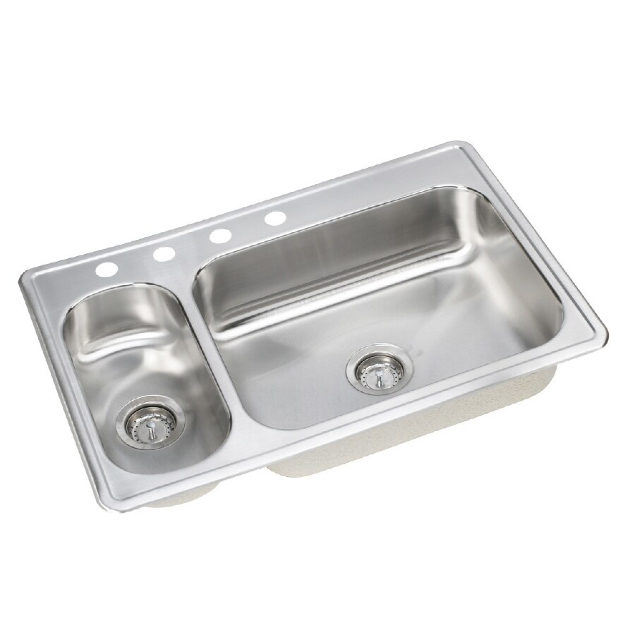 Elkay Dayton Elite 22-in x 33-in Elite Satin Double-Basin Stainless Steel Drop-in 4-Hole Residential Kitchen Sink