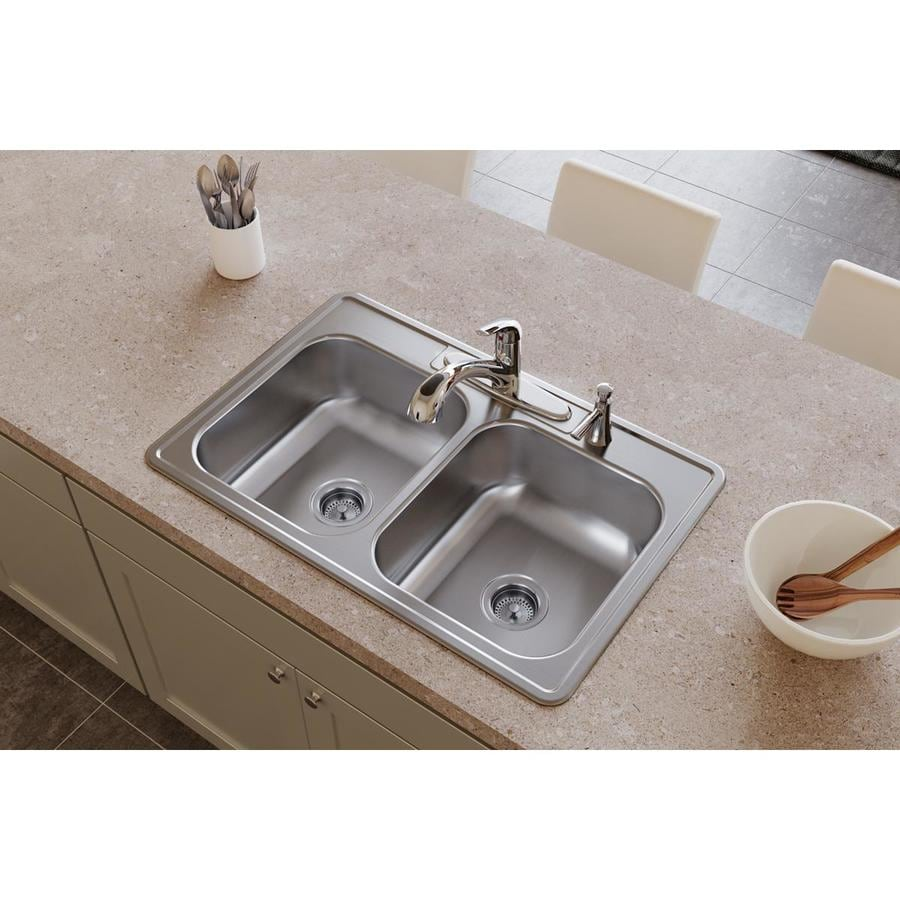 Elkay Dayton 22-in x 33-in Radiant Satin Double-Basin Stainless Steel Drop-in 4-Hole Residential Kitchen Sink