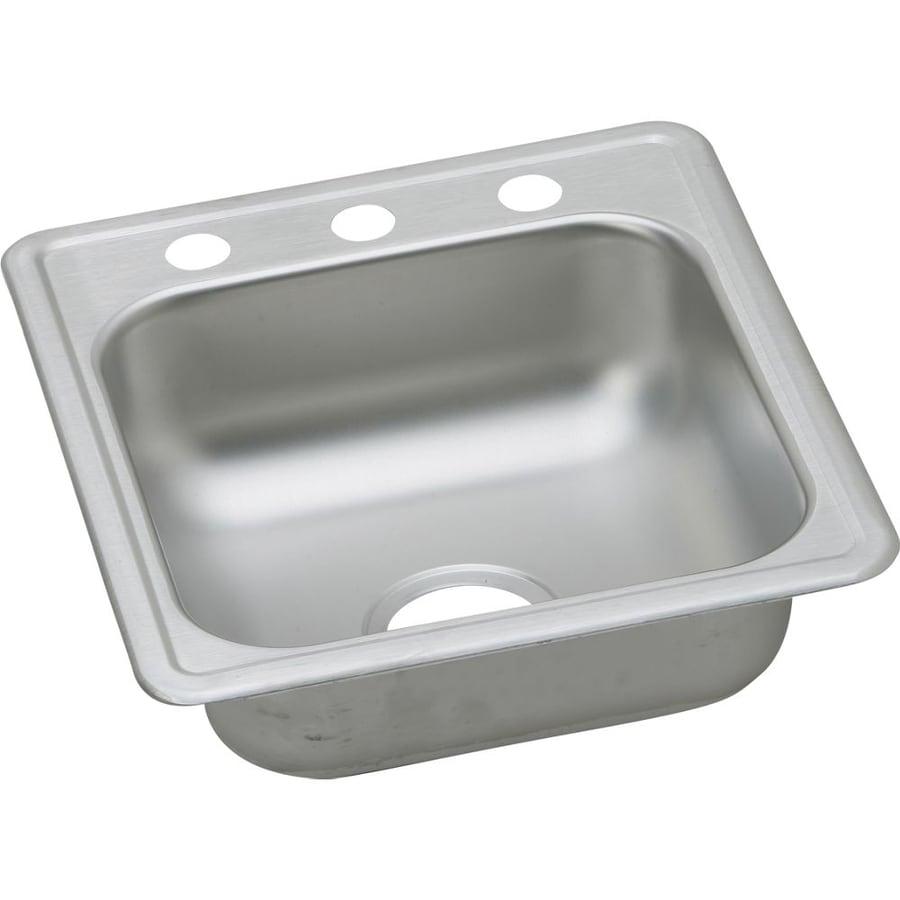 Elkay Dayton 19-in x 17-in Satin Single-Basin Stainless Steel Drop-in 2-Hole Commercial Kitchen Sink