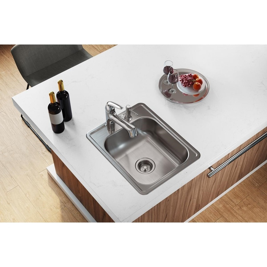 Elkay Dayton 21.25-in x 17-in Satin Single-Basin Stainless Steel Drop-in 3-Hole Commercial Kitchen Sink
