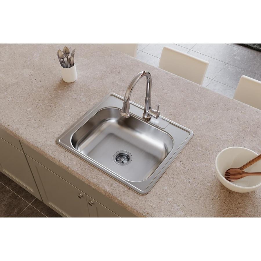 Elkay Dayton 21.25-in x 25-in Satin Single-Basin-Basin Stainless Steel Drop-in 3-Hole Commercial Kitchen Sink