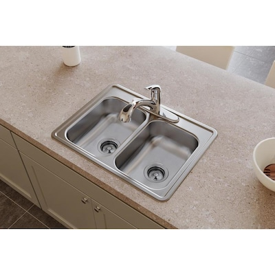 Dayton 25-in x 19-in Satin Double Equal Bowl Drop-In 4-Hole Commercial  Kitchen Sink