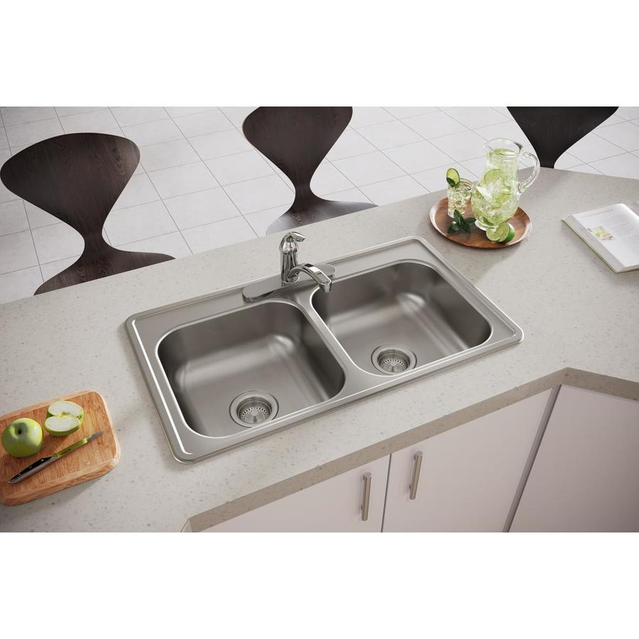Elkay Dayton 19-in x 33-in Satin Double-Basin Stainless Steel Drop-in 3-Hole Commercial Kitchen Sink