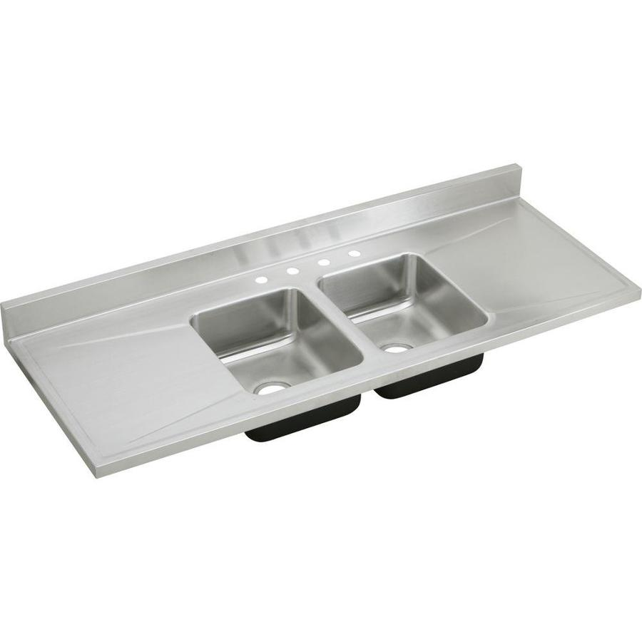 Elkay Gourmet 25-in x 66-in Lustrous Highlighted Satin Double-Basin Drop-in 4-Hole Residential Kitchen Sink Drainboard Included