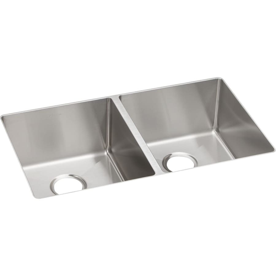 Elkay Crosstown 18.5-in x 31.5-in Polished Satin 2 Stainless Steel Undermount (Customizable)-Hole Residential Kitchen Sink