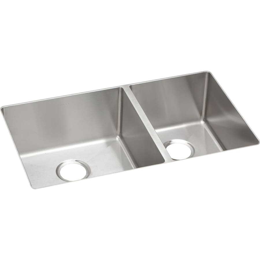 Elkay Crosstown 18.5-in x 31.5-in Polished Satin Double-Basin Stainless Steel Undermount Residential Kitchen Sink
