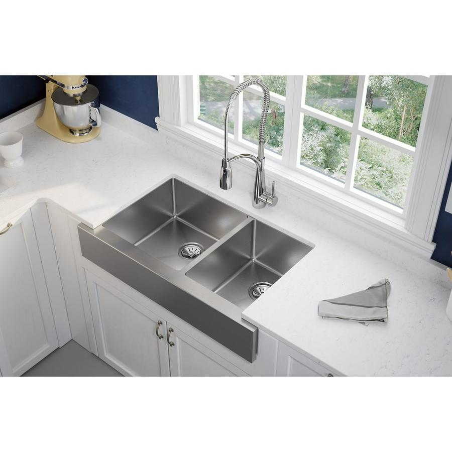 Shop Elkay Crosstown X 31 5 In Polished Satin Double Basin Stainless Steel Apron Front