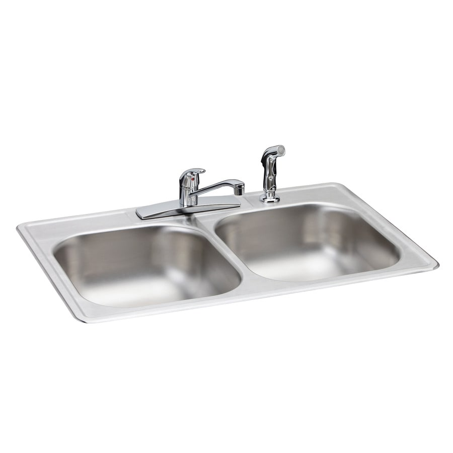 Elkay 33-in x 22-in Durable Satin Single-Basin-Basin Stainless Steel Drop-In-Hole Kitchen Sink
