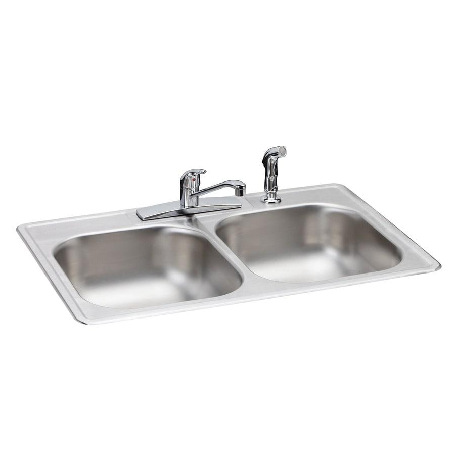 Elkay 33-in x 22-in Durable Satin Double-Basin Drop-In Kitchen Sink