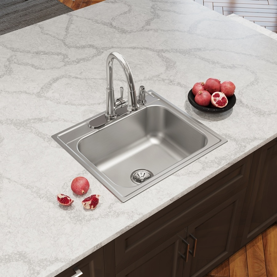 single bowl kitchen sink drop in elkay 25 in x 22 in satin single basin drop in 4 9304