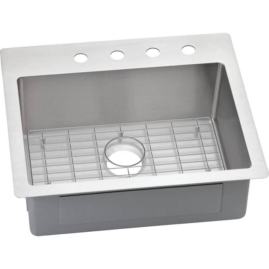 Elkay Crosstown 22-in x 25-in Satin Single-Basin Stainless Steel Drop-in or Undermount 4-Hole Residential Kitchen Sink