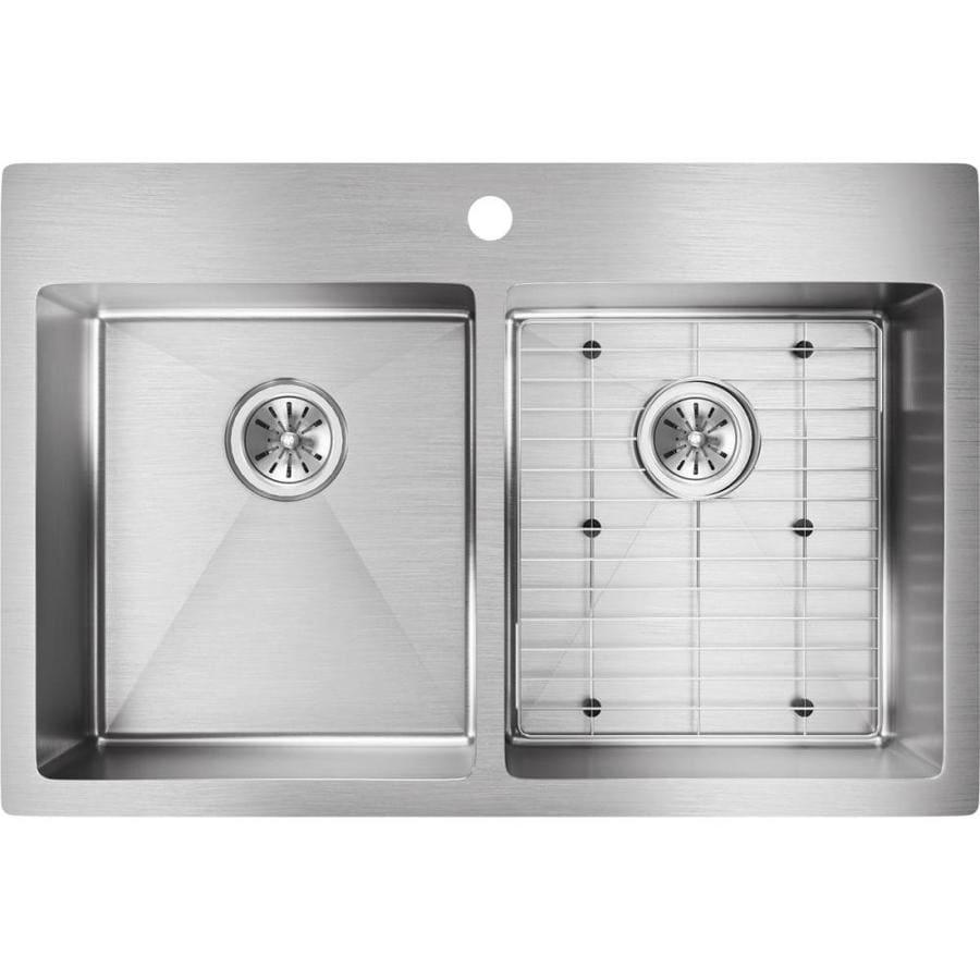 Elkay Crosstown 22-in x 33-in Satin Double-Basin Drop-in or Undermount 1-Hole Residential Kitchen Sink