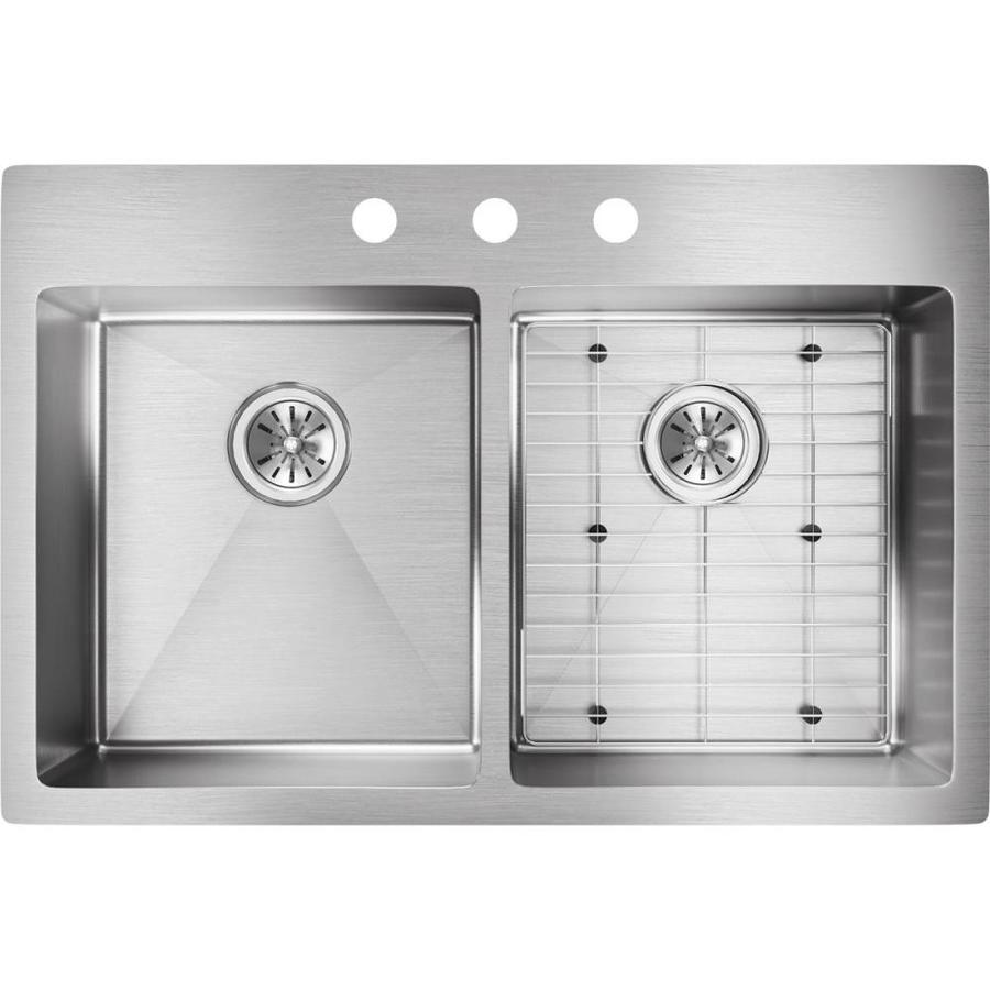 Elkay Crosstown 22-in x 33-in Polished Satin Double-Basin Drop-in or Undermount 3-Hole Residential Kitchen Sink