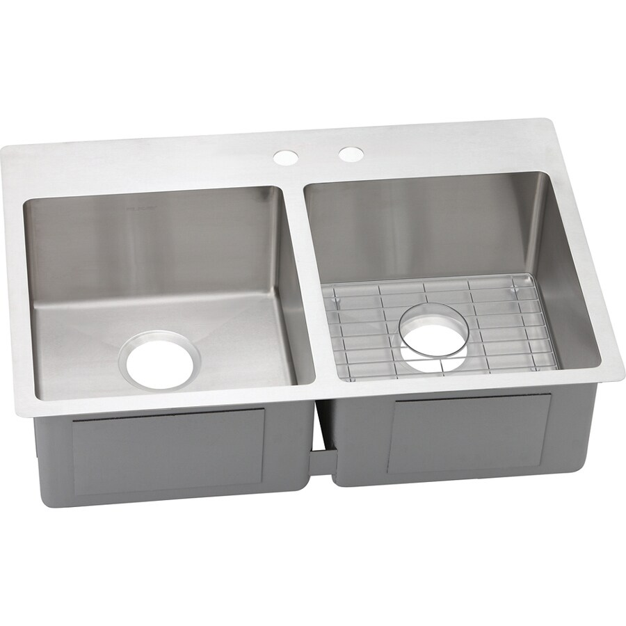 Elkay Crosstown 22-in x 33-in Satin Double-Basin Drop-in or Undermount 2-Hole Residential Kitchen Sink Drainboard Included