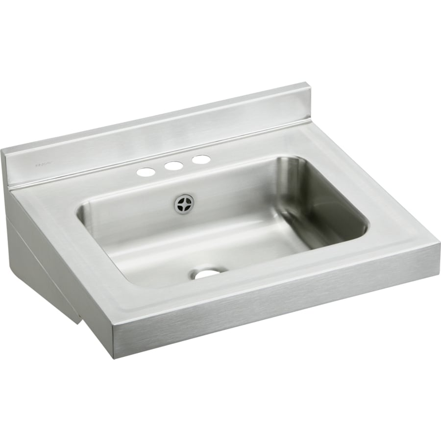 Elkay 19-in x 22-in Buffed Satin Wall Mount Stainless Steel Utility Tub Utility Sink