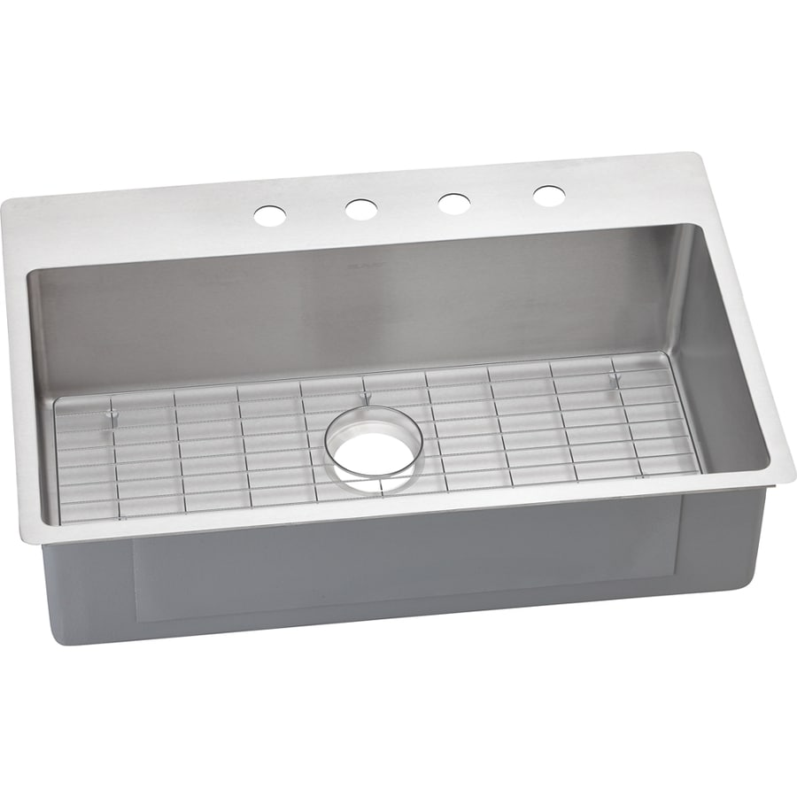 Elkay Crosstown 22-in x 33-in Satin Single-Basin Stainless Steel Drop-in or Undermount 4-Hole Residential Kitchen Sink