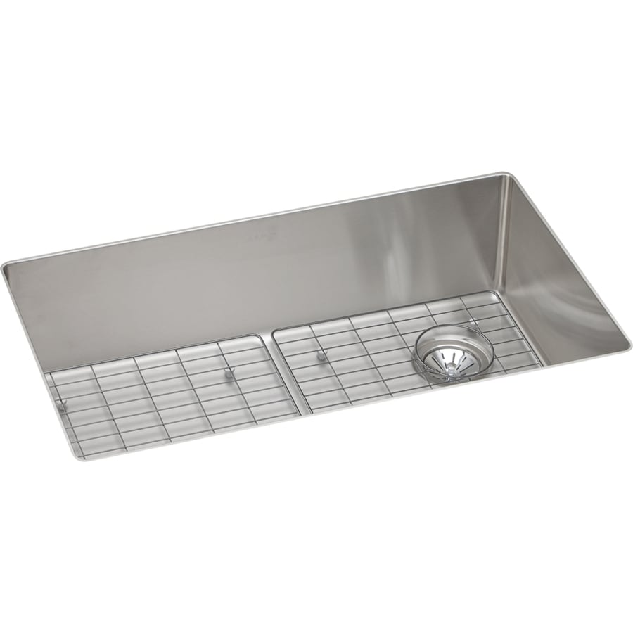 Elkay Crosstown 18.5-in x 31.5-in Satin 1 Stainless Steel Undermount (Customizable)-Hole Residential Kitchen Sink