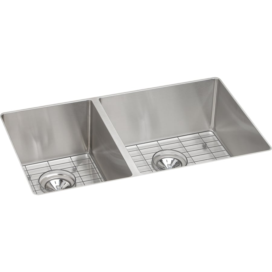 Elkay Crosstown 18.5-in x 31.5-in Satin 2 Stainless Steel Undermount (Customizable)-Hole Residential Kitchen Sink