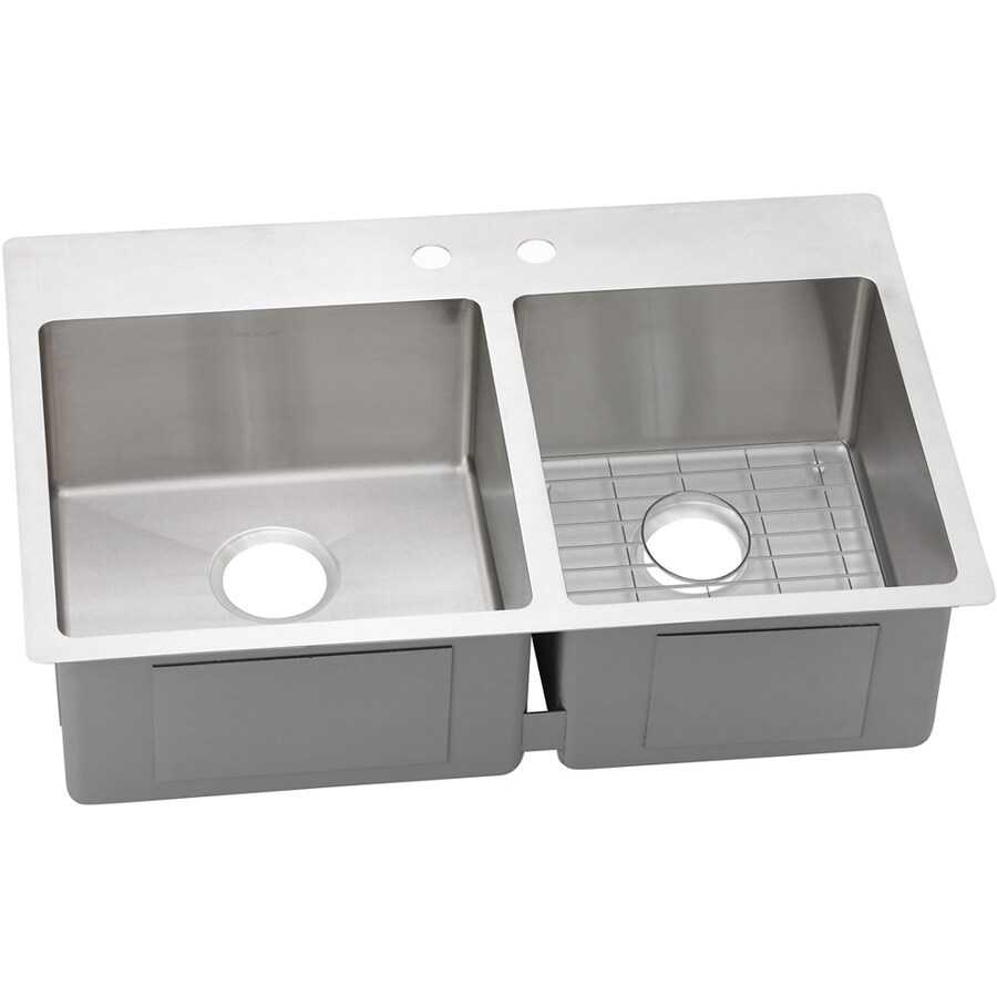 Elkay Crosstown 22-in x 33-in Satin Double-Basin Stainless Steel Drop-in or Undermount 2-Hole Residential Kitchen Sink