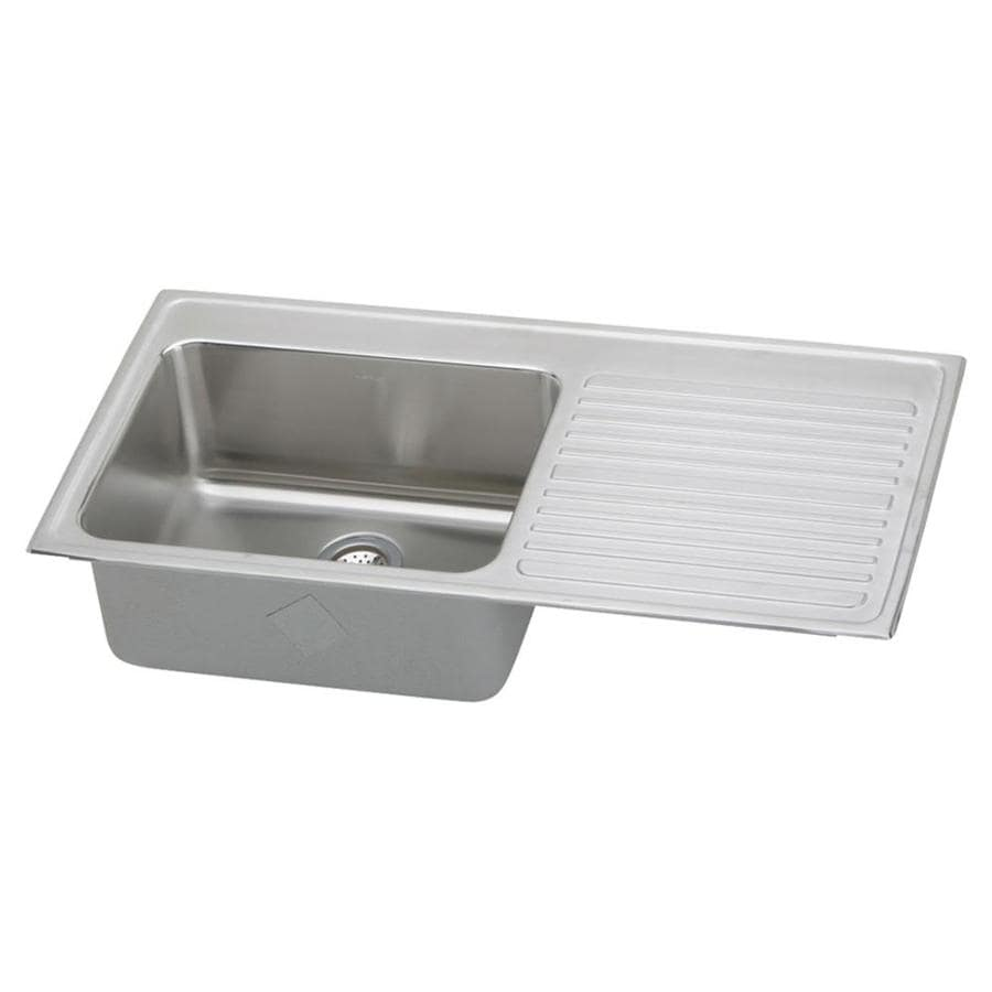 Elkay Gourmet 22-in x 43-in Lustrous Highlighted Satin Single-Basin Stainless Steel Drop-in Residential Kitchen Sink Drainboard Included