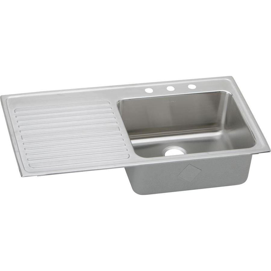 Elkay Gourmet 22-in x 43-in Lustrous Highlighted Satin Single-Basin Stainless Steel Drop-in 3-Hole Residential Kitchen Sink Drainboard Included