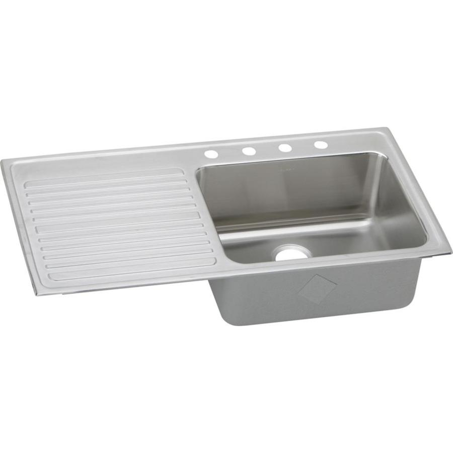 Elkay Gourmet 22-in x 43-in Lustrous Highlighted Satin Single-Basin Stainless Steel Drop-in 4-Hole Residential Kitchen Sink