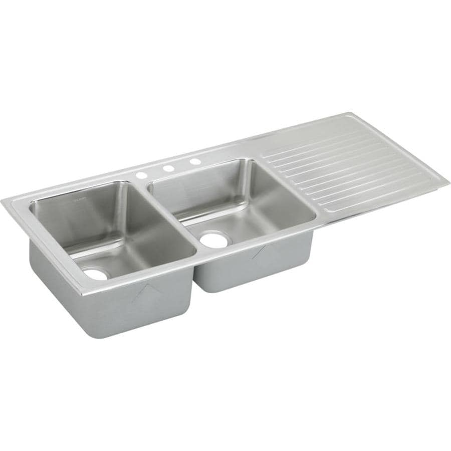 Elkay Gourmet 22-in x 54-in Lustrous Highlighted Satin Double-Basin Stainless Steel Drop-in 3-Hole Residential Kitchen Sink Drainboard Included