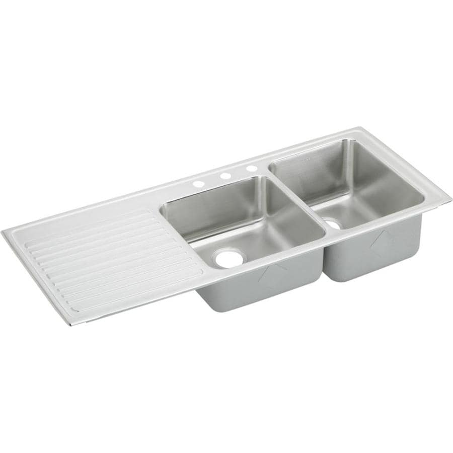 Elkay Gourmet 22-in x 54-in Lustertone 2 Stainless Steel Drop-in 3-Hole Residential Kitchen Sink Drainboard Included