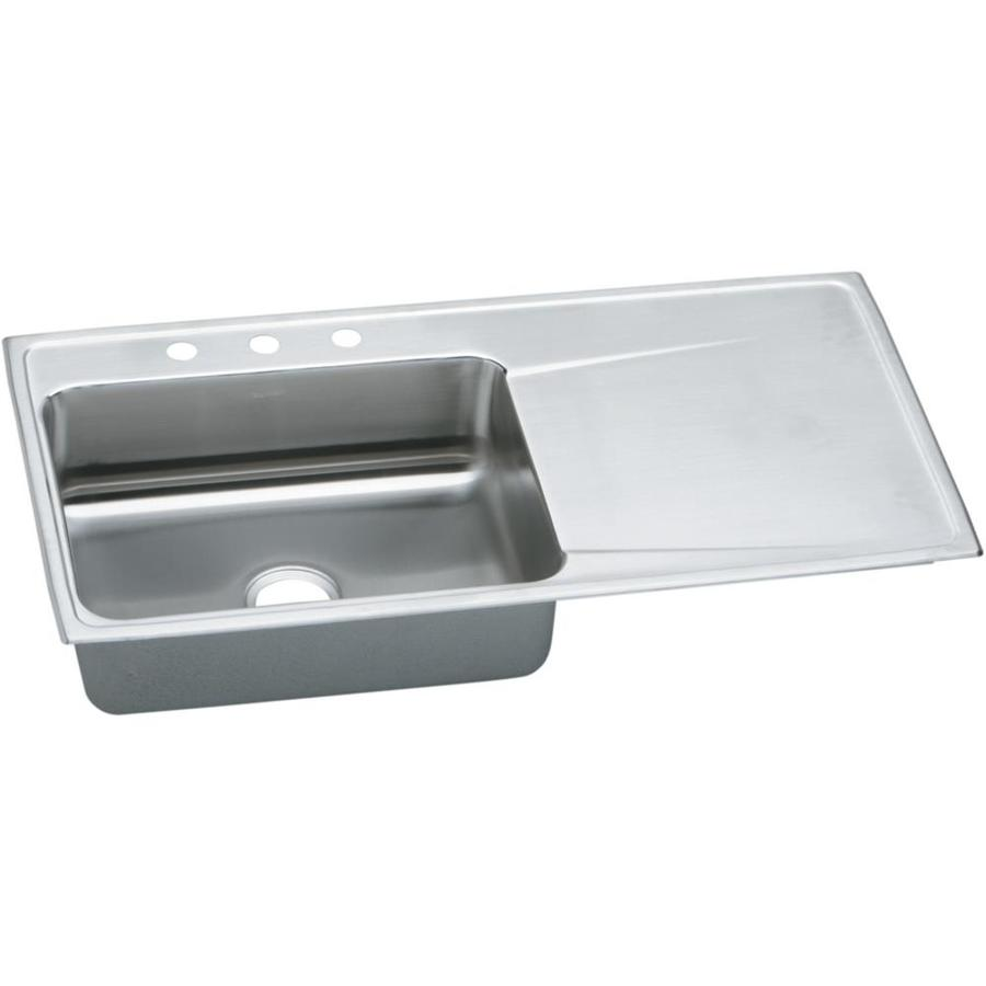 Elkay Gourmet 22-in x 43-in Lustertone Single-Basin Stainless Steel Drop-in 4-Hole Residential Kitchen Sink Drainboard Included