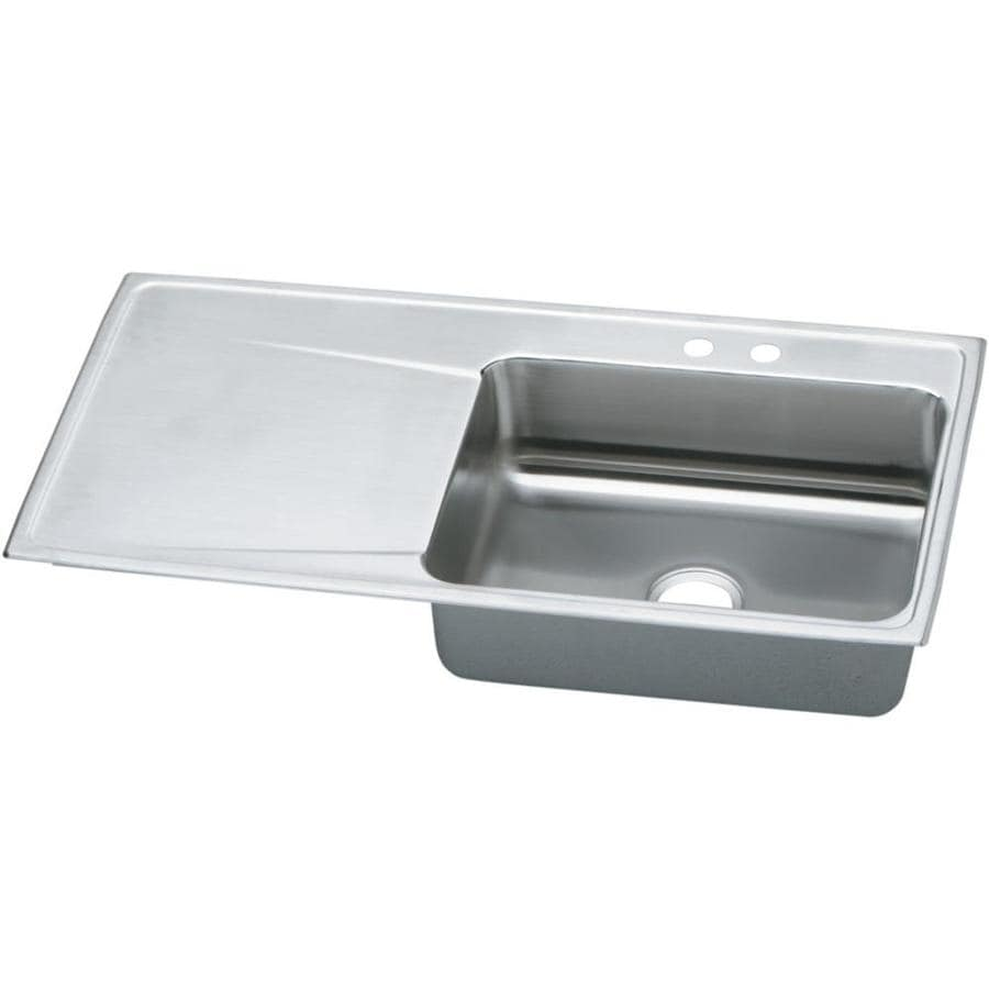 Elkay Gourmet 22-in x 43-in Lustertone Single-Basin Stainless Steel Drop-in 2-Hole Residential Kitchen Sink Drainboard Included