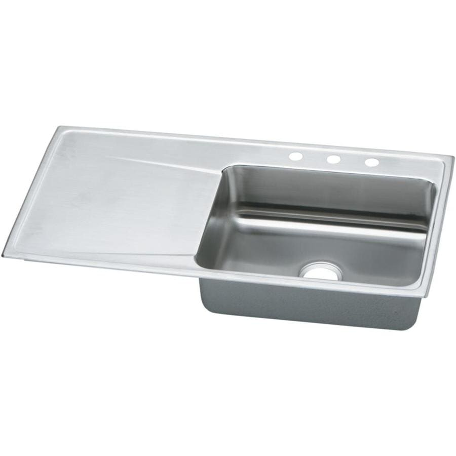 Elkay Gourmet 22-in x 43-in Lustertone Single-Basin-Basin Stainless Steel Drop-in 3-Hole Residential Kitchen Sink Drainboard Included
