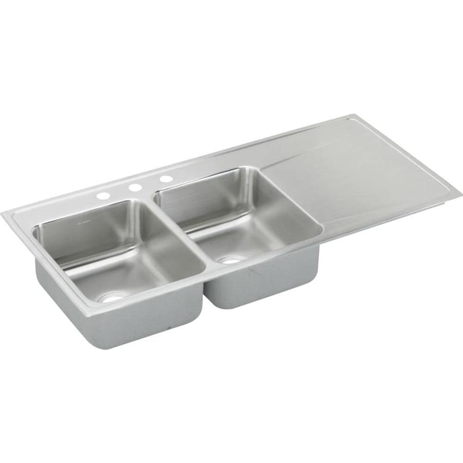 Elkay Gourmet 22-in x 48-in Lustertone Double-Basin Drop-in 4-Hole Residential Kitchen Sink