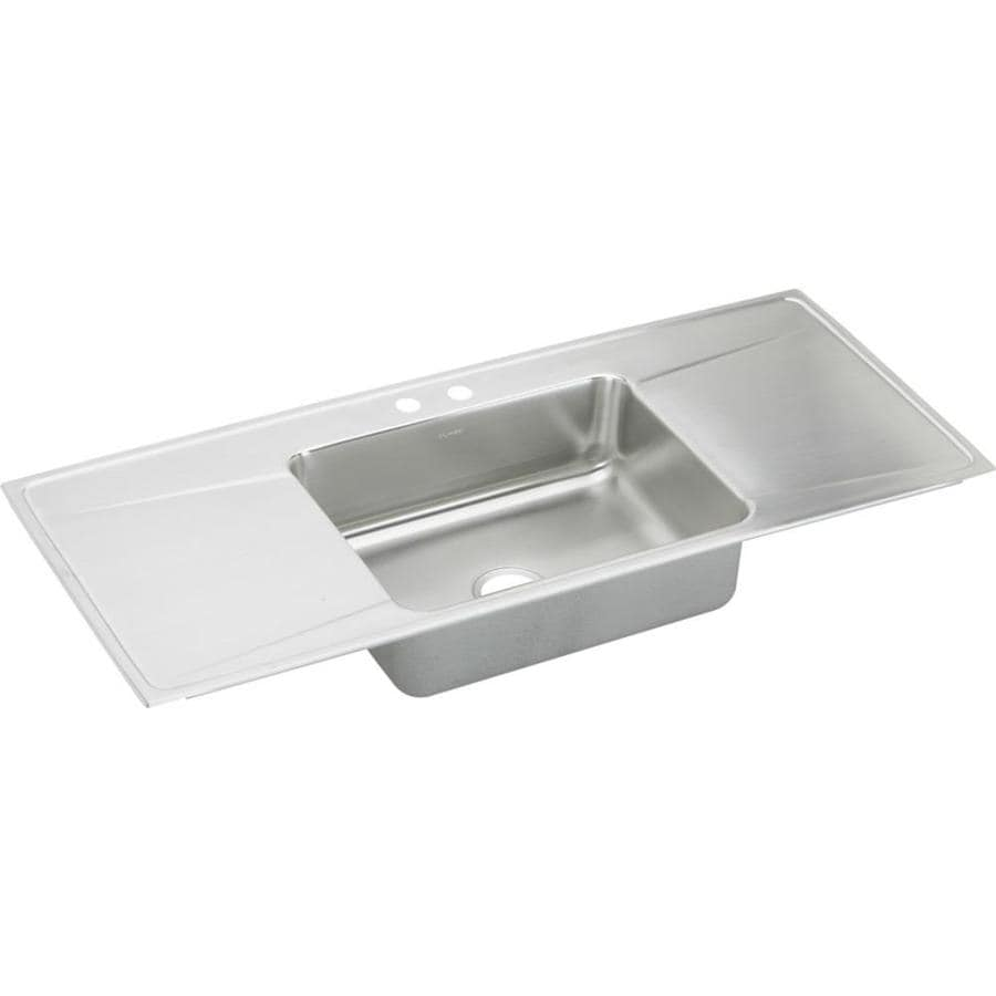 Elkay Gourmet 22-in x 54-in Lustrous Highlighted Satin Single-Basin Stainless Steel Drop-in 2-Hole Residential Kitchen Sink Drainboard Included