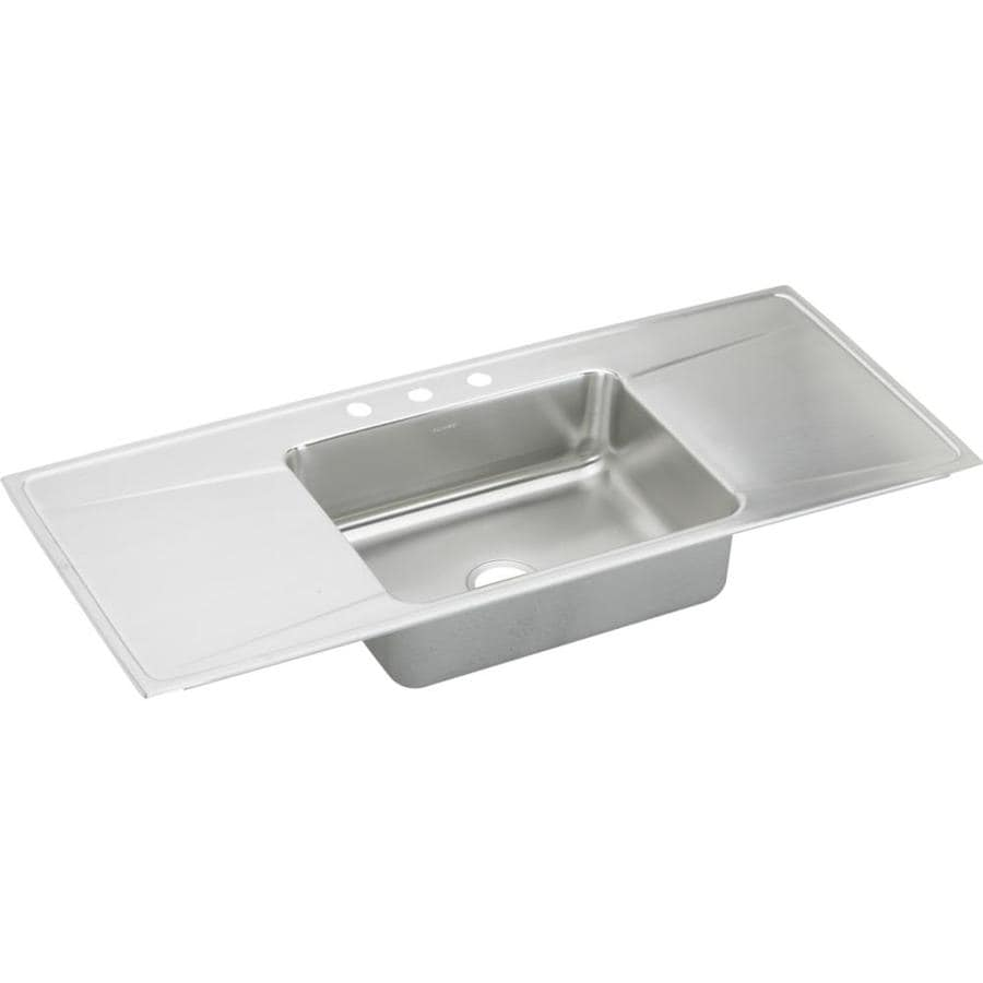 Elkay Gourmet 22-in x 54-in Lustertone Single-Basin Stainless Steel Drop-in 4-Hole Residential Kitchen Sink Drainboard Included
