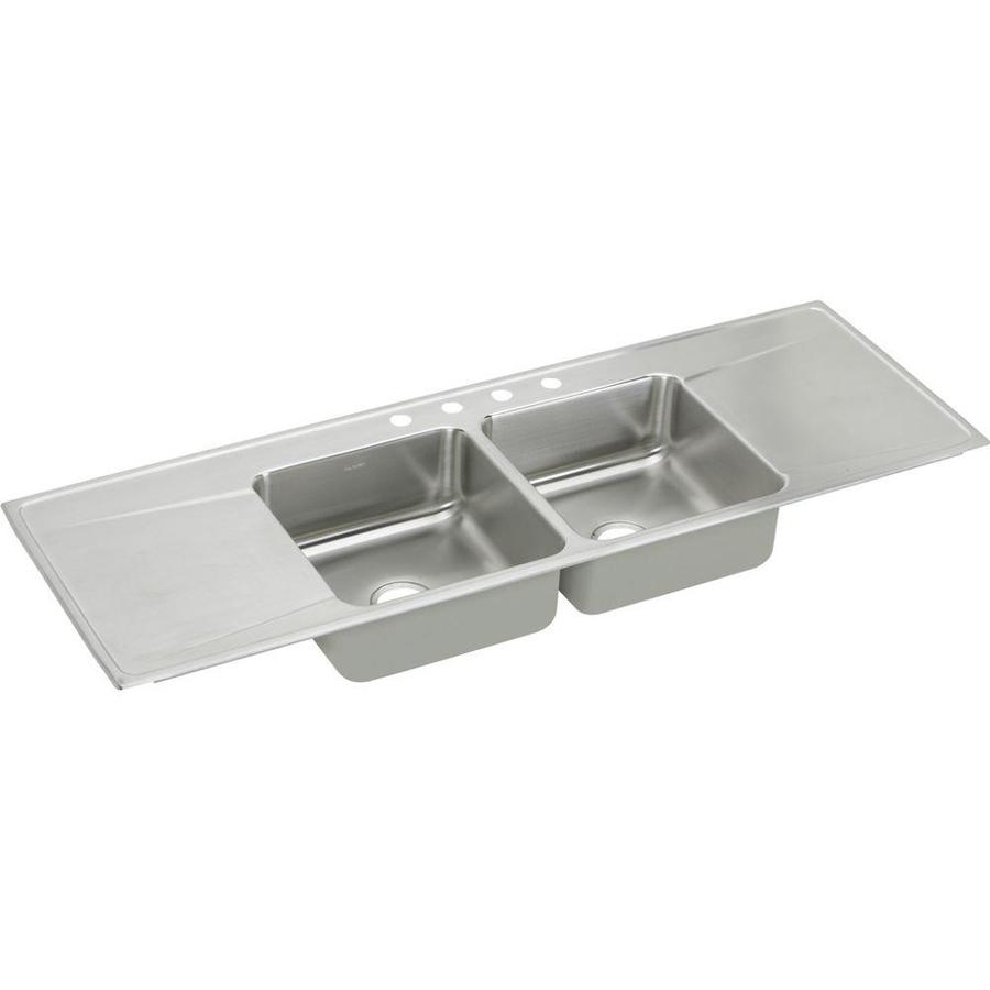 Elkay Gourmet 22-in x 66-in Lustrous Highlighted Satin Double-Basin Stainless Steel Drop-in 4-Hole Residential Kitchen Sink Drainboard Included