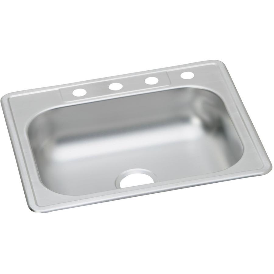 Elkay Kingsford 21.375-in x 25-in Single-Basin Stainless Steel Drop-In Kitchen Sink