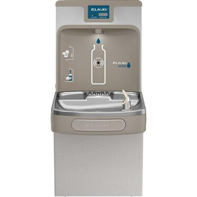 Elkay Bottle Filling Station Gray 1-Basin Push Button Wall