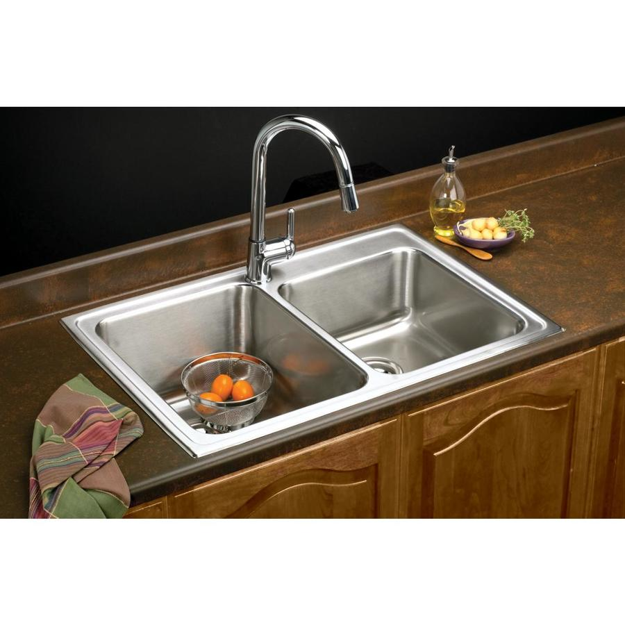 Elkay Gourmet 22-in x 33-in Lustrous Highlighted Satin Double-Basin Stainless Steel Drop-in 3-Hole Residential Kitchen Sink