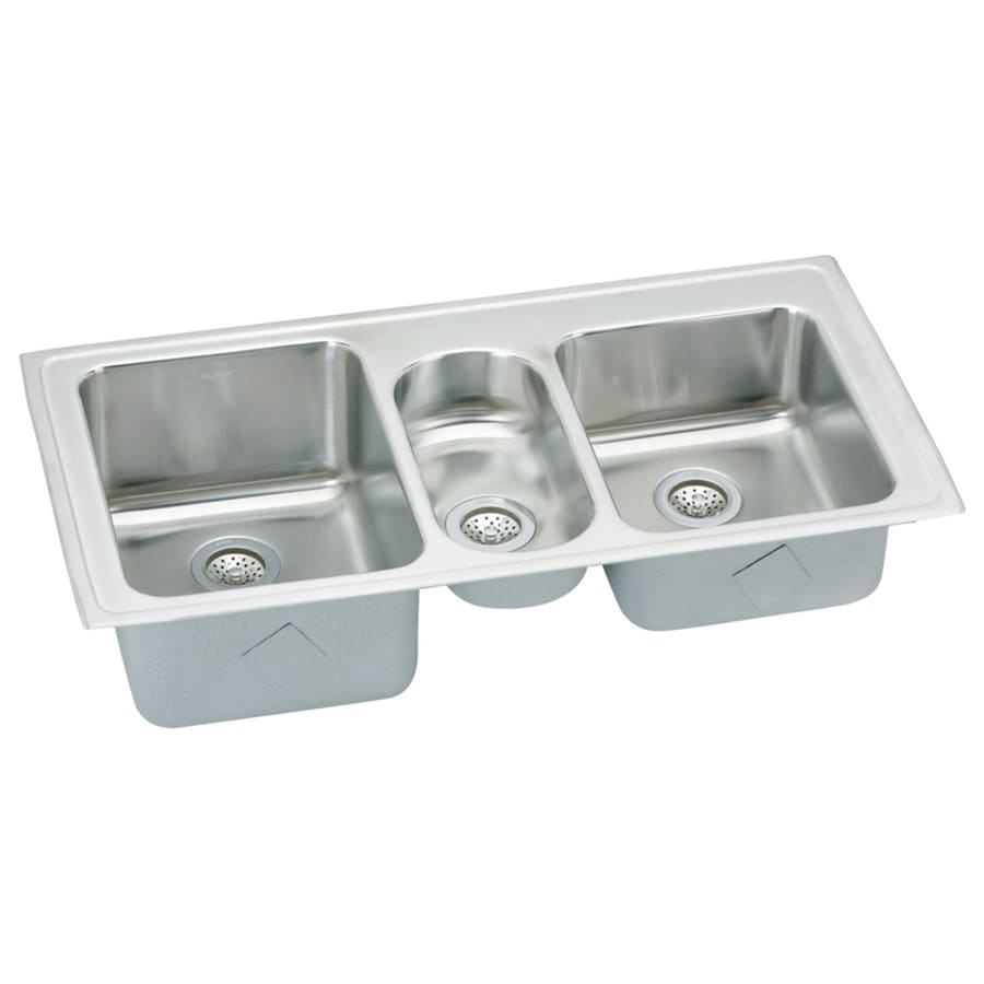 Elkay Gourmet 22-in x 43-in Triple-Basin Stainless Steel Drop-in Residential Kitchen Sink Drainboard Included