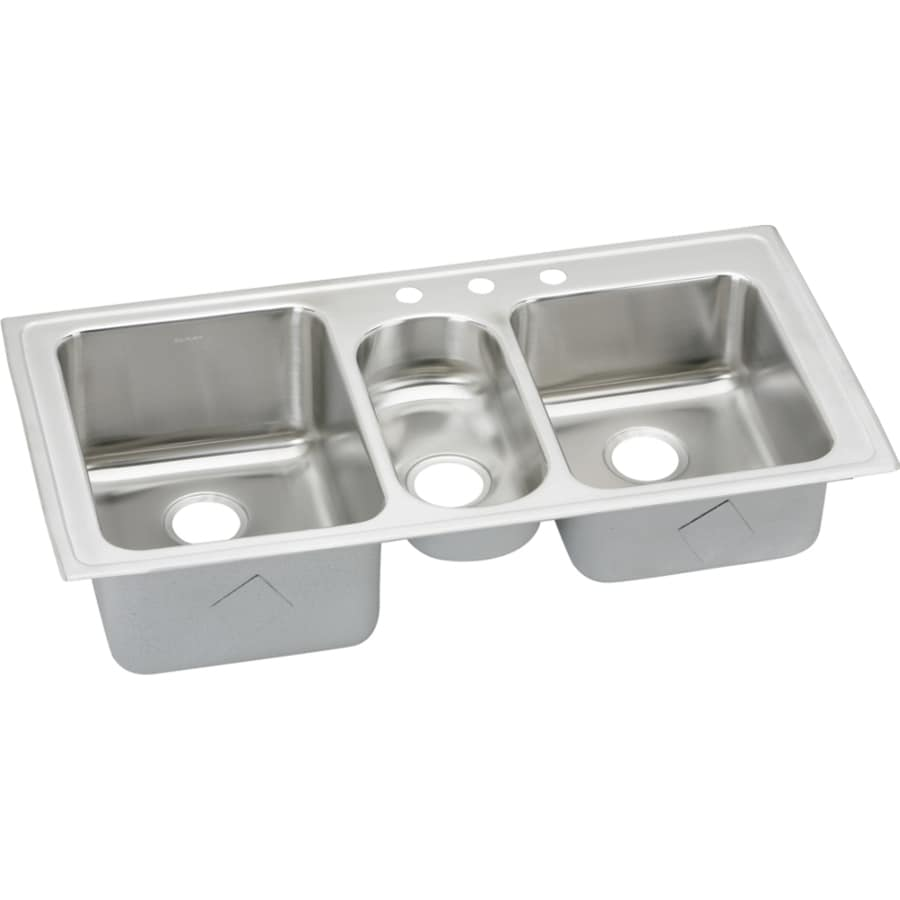 Elkay Harmony 22-in x 43-in Lustertone Triple-Basin Stainless Steel Drop-in 3-Hole Residential Kitchen Sink